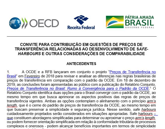 Pesquisa OCDE e RFB - Preços de transferência